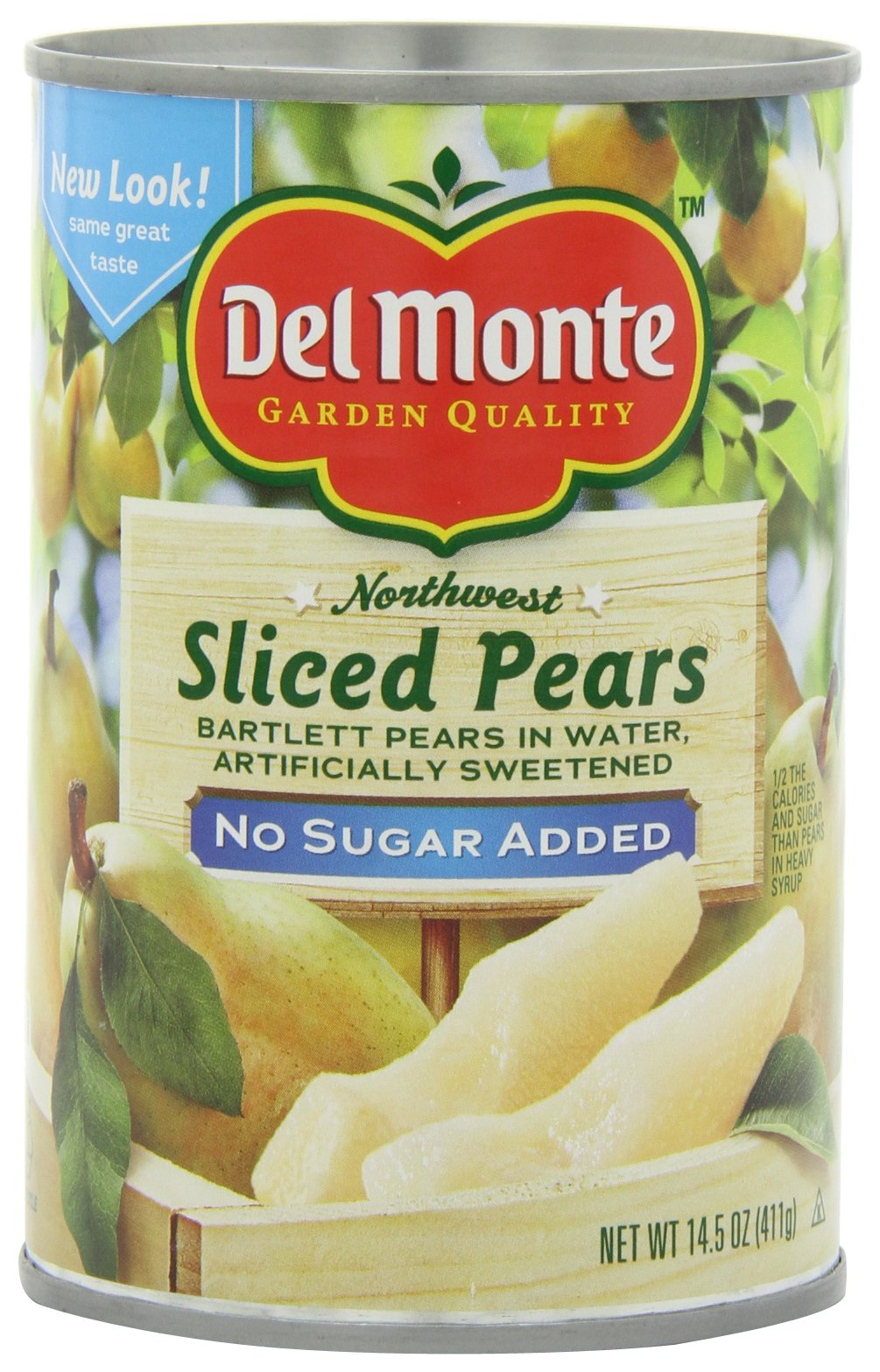 Del Monte Sliced Pears Packed in Water Artificailly Sweetened, No Sugar Added, 14.5-Ounce (Pack of 6) by Del Monte