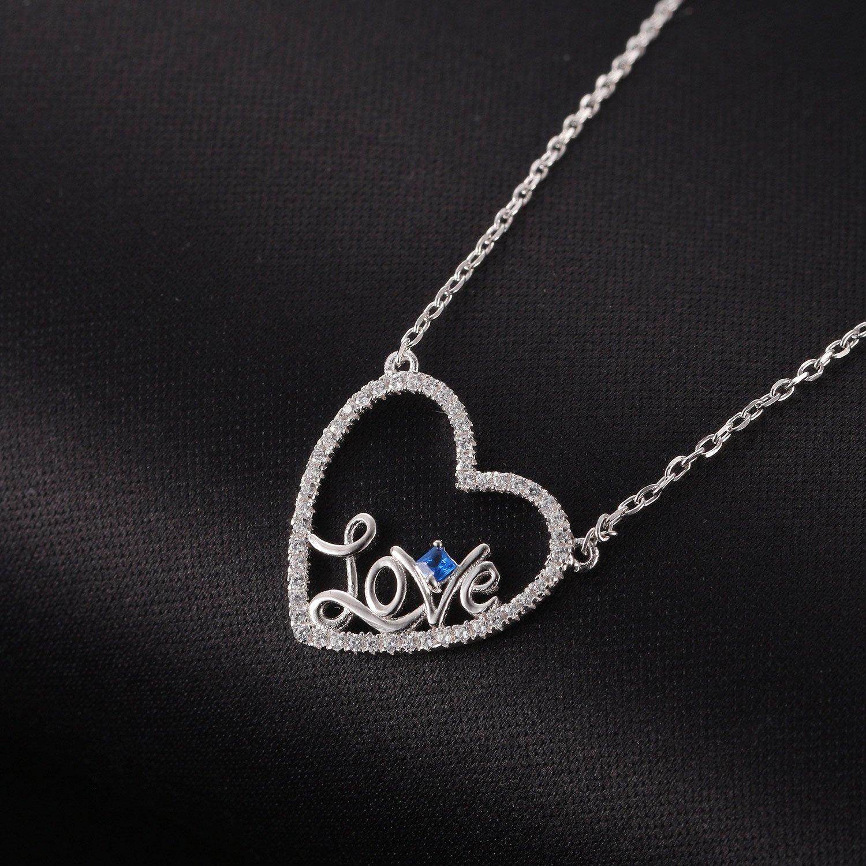 Caperci Sterling Silver Love Open Heart Pendant Necklace Women Girls, 18'' by Caperci (Image #3)