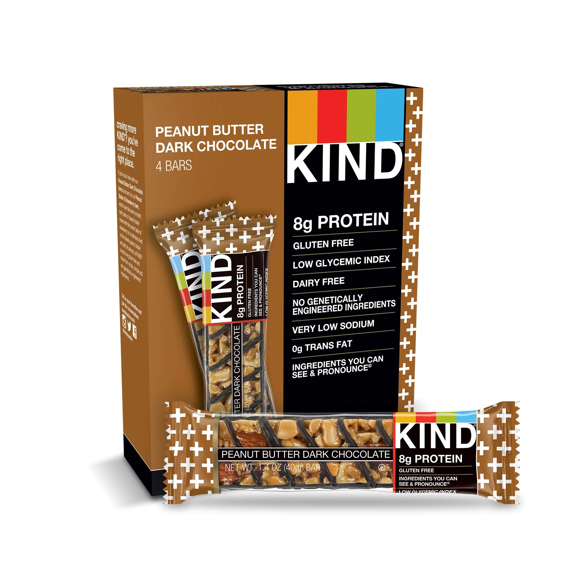 KIND Bars, Peanut Butter Dark Chocolate, 8g Protein, Gluten Free, 1.4 oz Bars, 48 Count by KIND