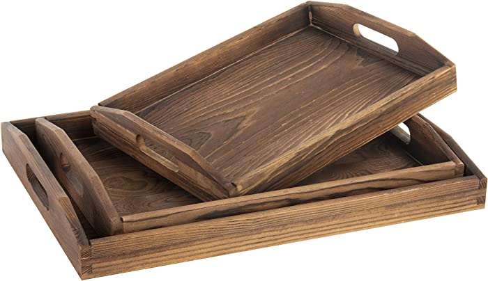 MyGift Set of 3 Nesting Brown Wood Serving Trays with Cutout Handles