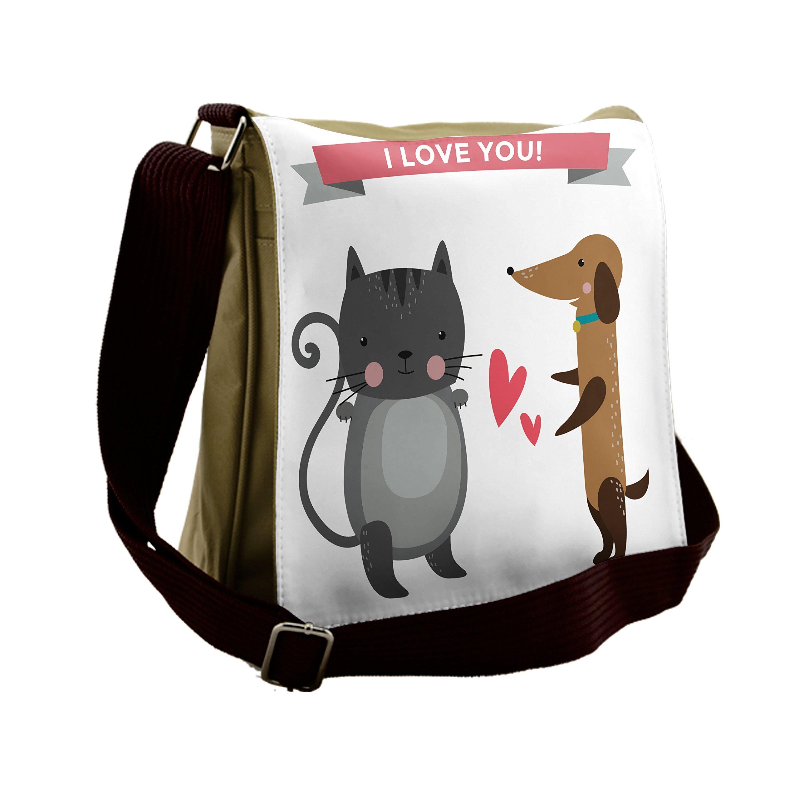 Lunarable Animals Messenger Bag, Animal Wedding Cat and Dog, Unisex Cross-body