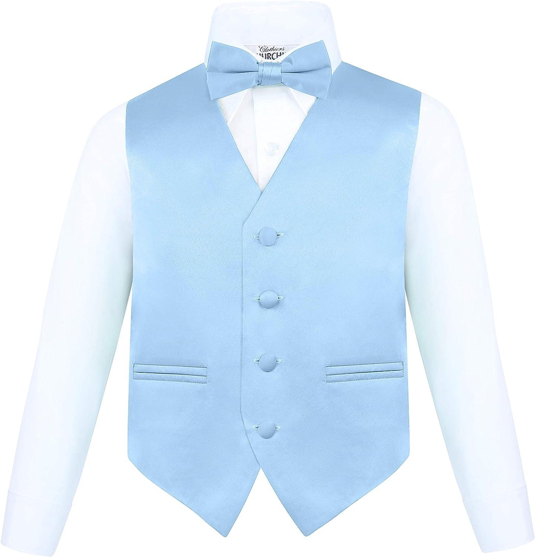 Boys 4 Piece Vest Set Neck Tie /& Pocket Hankie with Bow Tie Churchill /& Co S.H