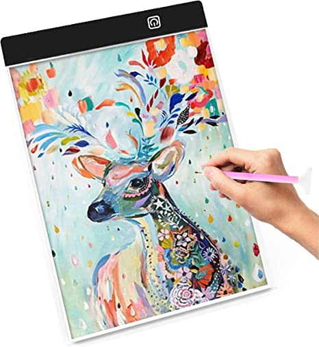 A4 Ultra-Thin Portable LED Light Box Tracer Sketching Stepless Dimming USB Power Light Pad for Diamond Painting Drawing Animation Light Box for Diamond Painting Calligraphy