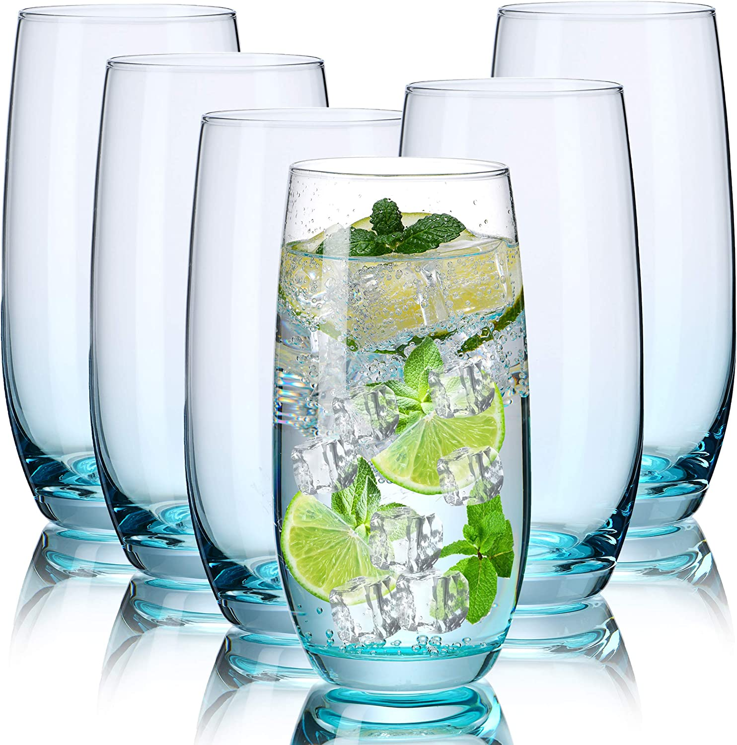 CUKBLESS Highball Glasses Set of 6 - Crystal Tall Drinking Glasses - Cocktail Glass Cups for Mojito, Juice, Beverage, and water - 19 Oz (Blue)