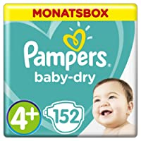 Pampers Baby-Dry Windeln, Gr. 4+, 10-15kg, Monatsbox, 1er Pack (1 x 152 Stück)
