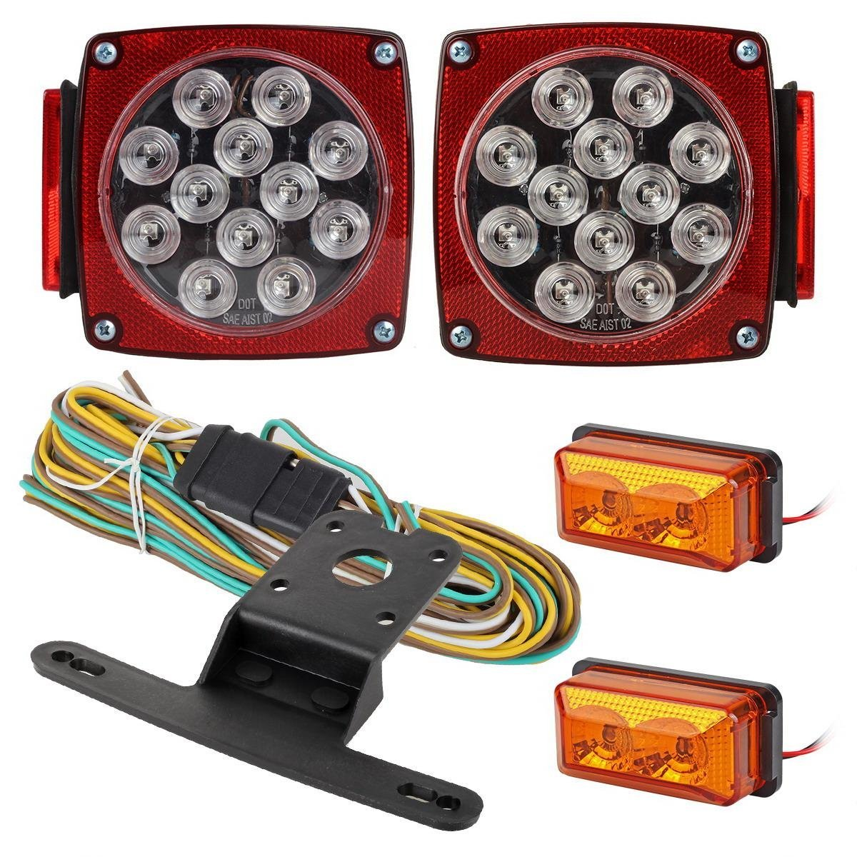 Amazon partsam led light kit trailer truck tail turn stop amazon partsam led light kit trailer truck tail turn stop boat light amber side marker w wire harness total of 4pcs automotive sciox Choice Image