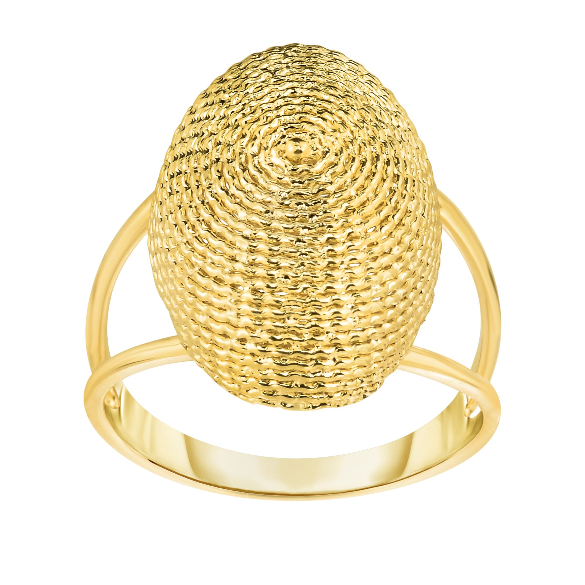 14K Yellow Gold Oval Graduated Top Textured Dome Double Row Ring