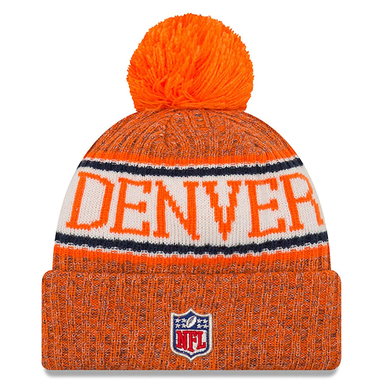 218505921c5 Amazon.com   New Era Knit Denver Broncos Biggest Fan Redux Sport Knit  Winter Stocking Beanie Pom Hat Cap NFL   Sports   Outdoors
