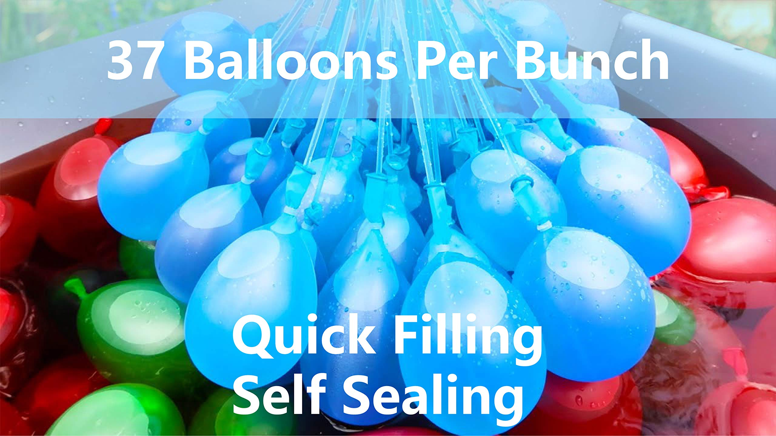 bueyu Bunny Water Balloons, Instant Quick Fill Water Balloons-8 Bunches Total 296 Multi-Color Water Balloons, Summer Splash Fun for Kids & Adults by Magic balloons (Image #2)