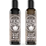 BEST DEAL Beard Wash & Beard Conditioner Set w/ Argan & Jojoba Oils - Softens & Strengthens - Natural Peppermint and Eucalyptus Scent - Beard Shampoo w/ Beard Oil (5 oz)
