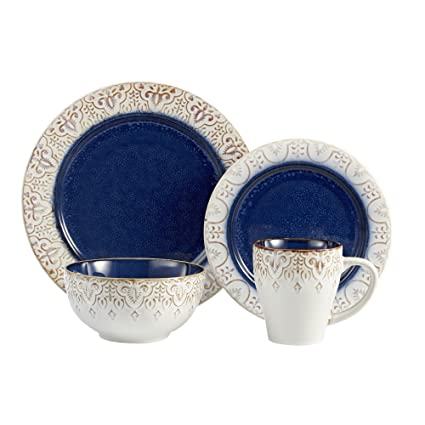 American Atelier 16 Piece Granada Round Dinnerware Set Blue  sc 1 st  Amazon.com : dinnerware sets blue - pezcame.com