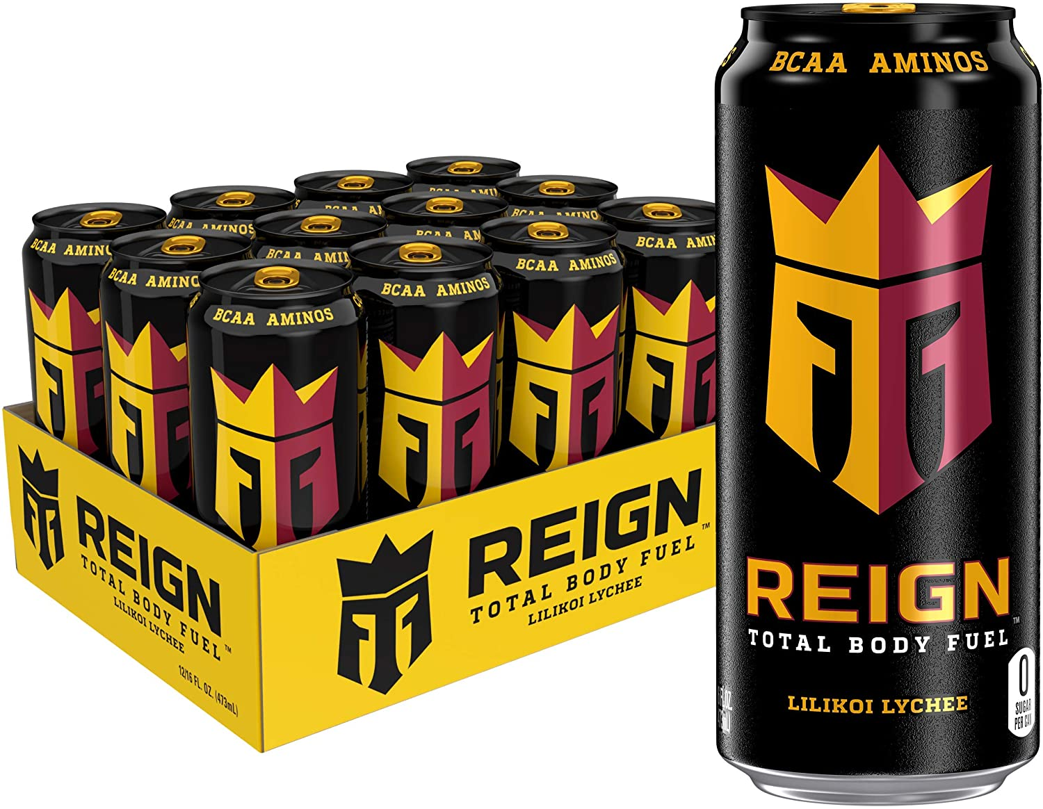 Reign Total Body Fuel, Lilikoi Lychee, Fitness & Performance Drink, 16 Fl Oz (Pack of 12)