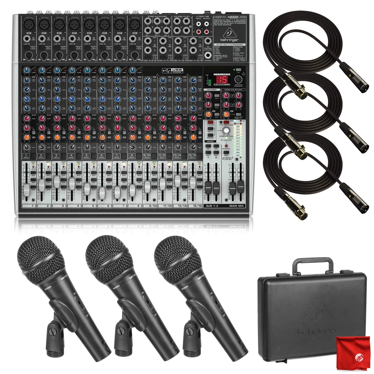 Behringer Xenyx X2222USB USB and Built-in Effects Mixer with 3 Behringer XM1800S Dynamic Microphones and 3X Gold Plated Monoprice Premium XLR Cables