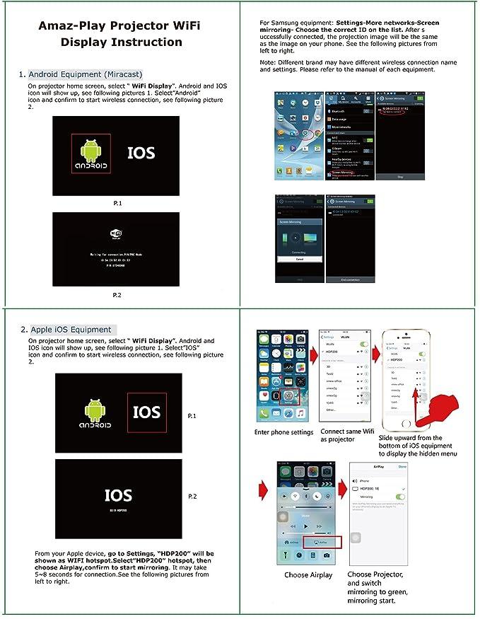 Amazon com: Amaz-Play Portable Mobile Pico Projector DLP