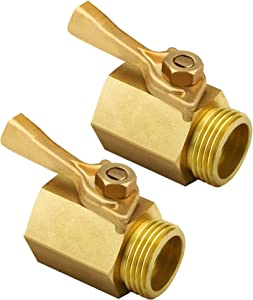 "TOMPOL Heavy Duty Brass Shut Off Valve- 3/4"", Solid Garden Hose Shut Off Valve Fit All Garden Hose Connector.(2pack & 4 Hose Washers)"