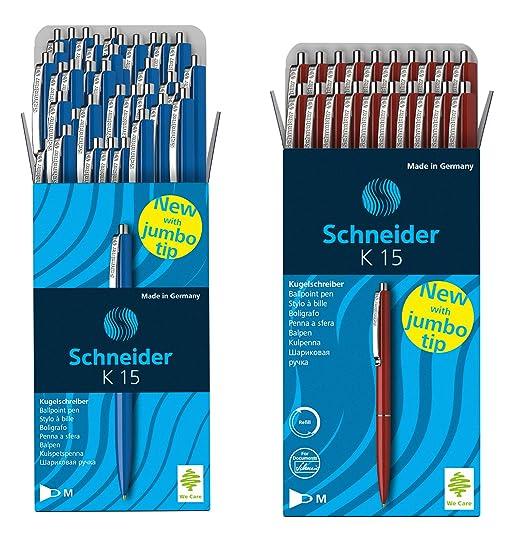 2x 50 St/ück 50 Schneider Kugelschreiber K15//Schreibfarbe blau//Geh/äusefarbe farbsortiert