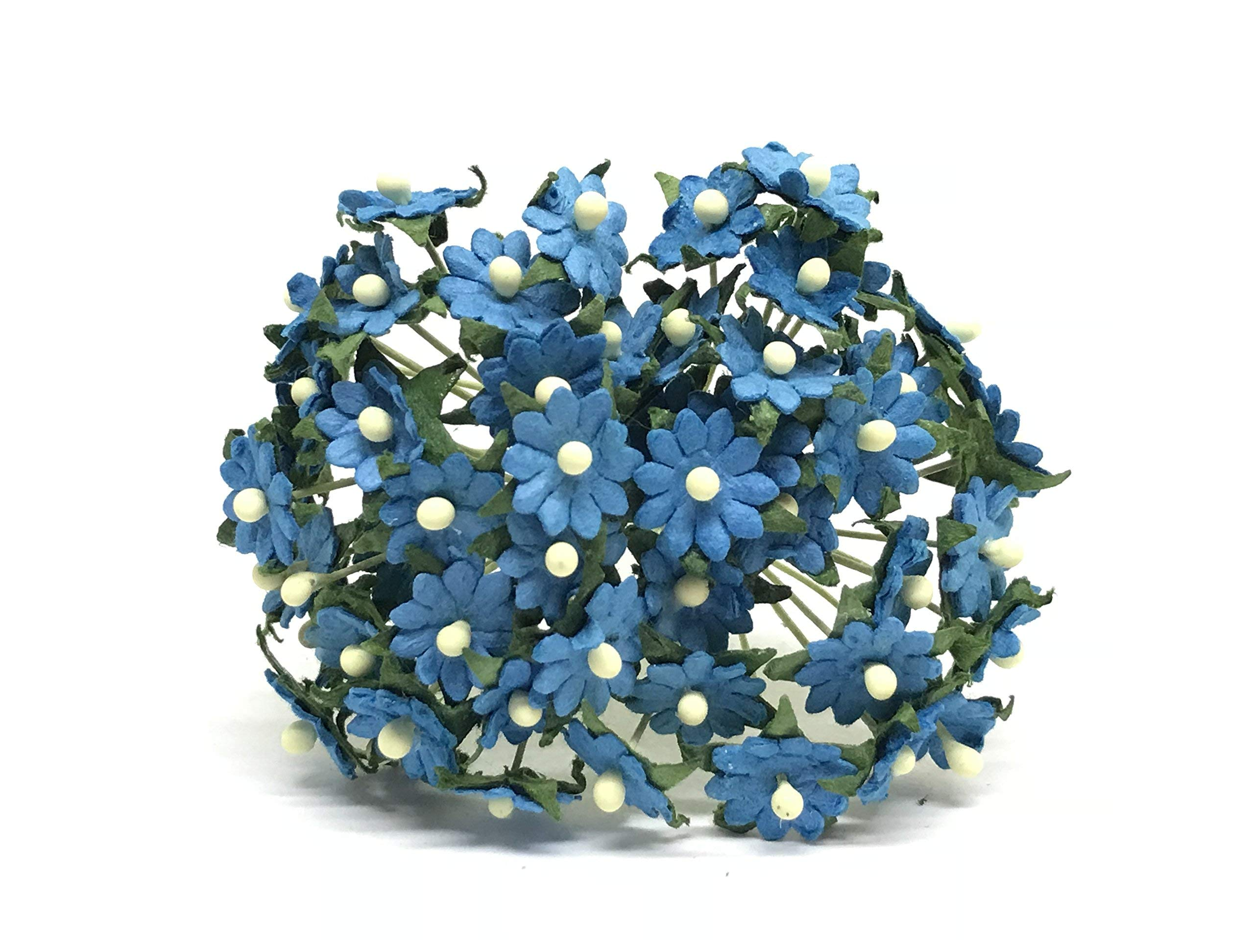 1cm-Blue-Paper-Daisies-Mulberry-Paper-Flowers-Miniature-Flowers-For-Crafts-Mulberry-Paper-Daisy-Paper-Flower-Artificial-Flowers-50-Pieces