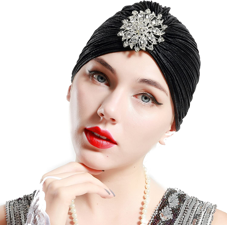 ArtiDeco Mujer Gorro Turbante con Cristal Vintage Pelo Turbante de Punto 1920s Disfraz de Estilo de los años 20
