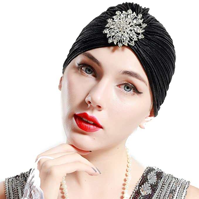 1920s Flapper Headband, Gatsby Headpiece, Wigs BABEYOND Womens Ruffle Turban Hat Knit Turban Headwraps with Detachable Crystal Brooch for 1920s Gatsby Party $11.99 AT vintagedancer.com