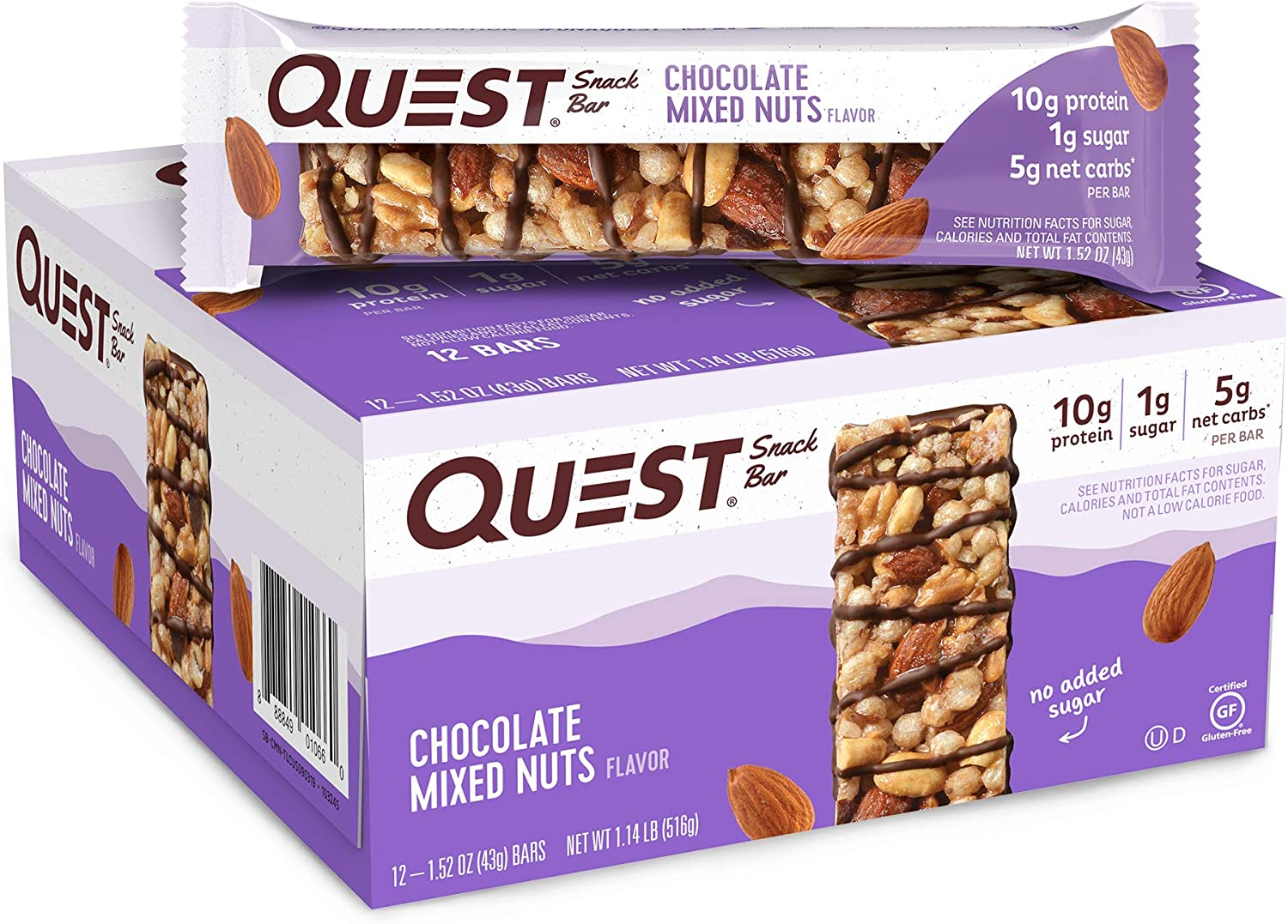 Quest Nutrition Chocolate Mixed Nuts Snack Bar, High Protein, Low Carb, Gluten Free, Keto Friendly,18.24 oz, 1.52 Ounce (Pack of 12)