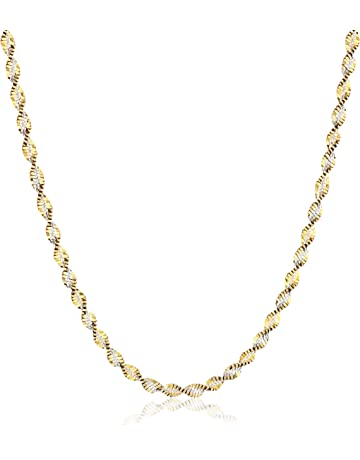 0302c22c9212aa Sterling Silver 18k Gold Two Tone 2.3mm Twisted Butterfly Chain Necklace