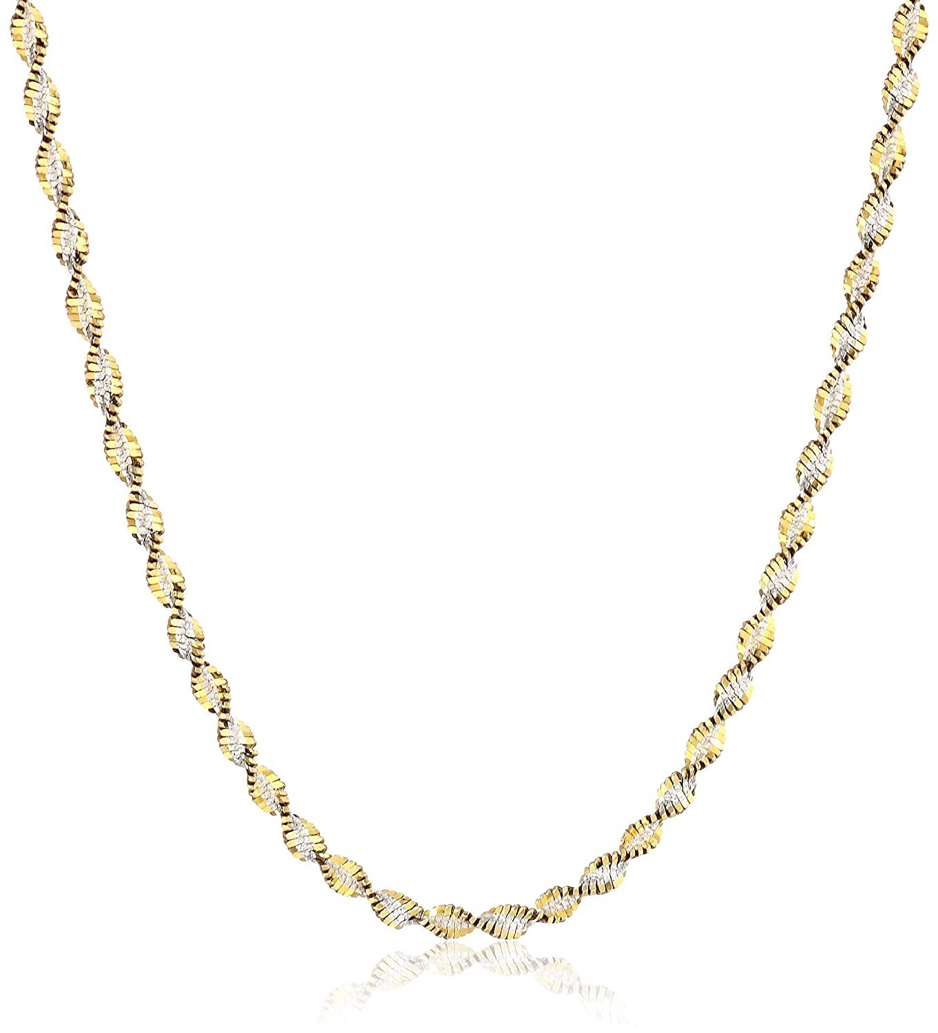 accent inches necklace two chain flat link gold mariner tone double
