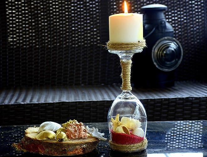 Wine Glass Candle HoldersSeashell HolderWedding DecorWedding CenterpieceHousewarming GiftBirthday GiftBeachy Home DecorNautical Wedding