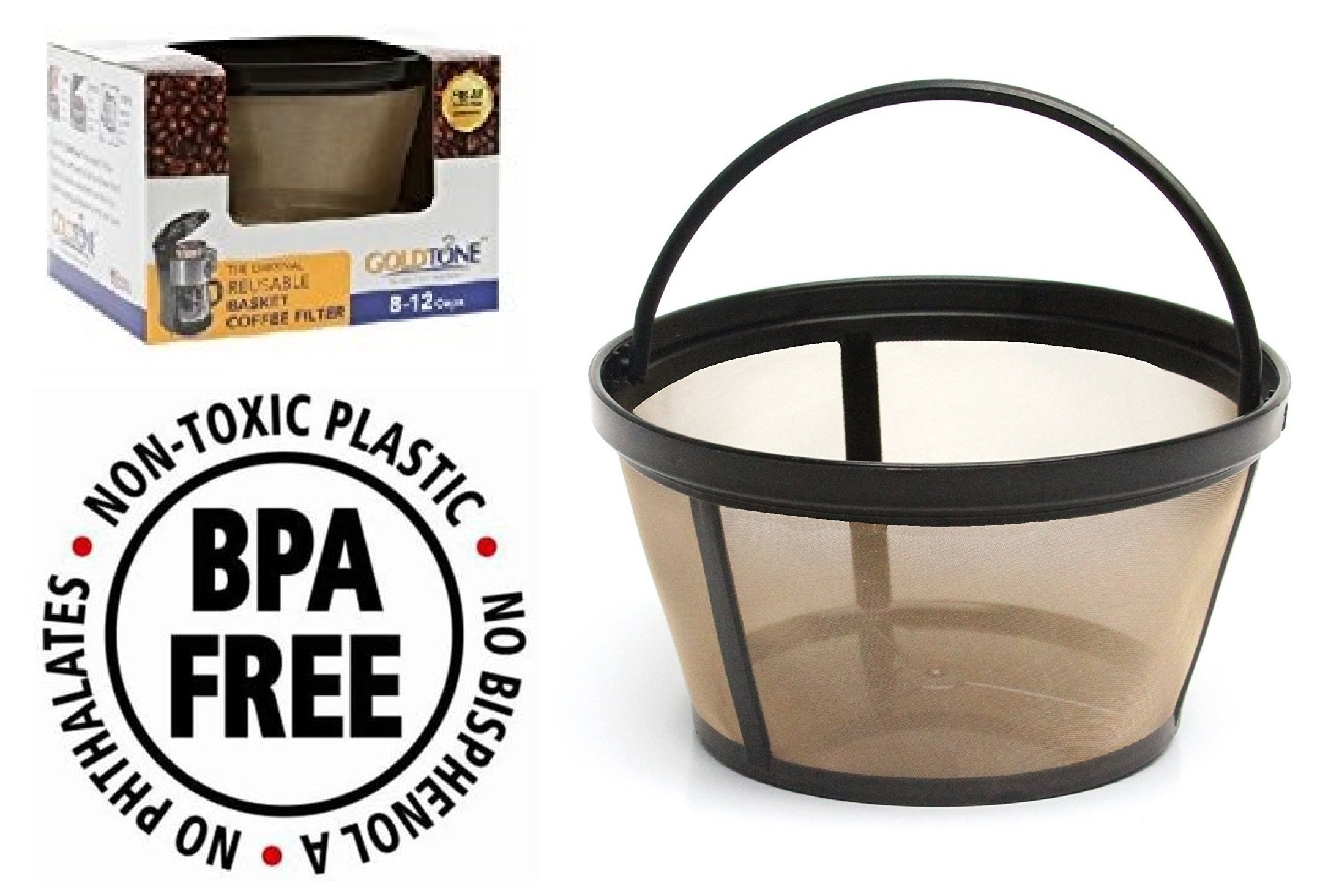 GOLDTONE Reusable 8-12 Cup Basket Coffee Filter fits Mr. Coffee Makers and Brewers, BPA Free.