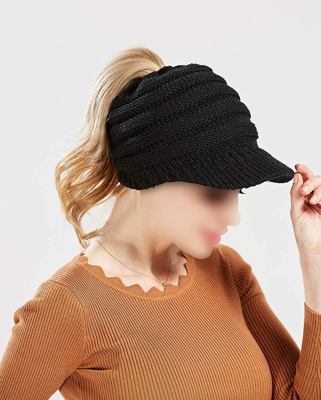 Ron Kite New Women Girl Messy High Bun Ponytail Stretchy Knit Skull Warm Hat Open Ponytail Baseball Cap