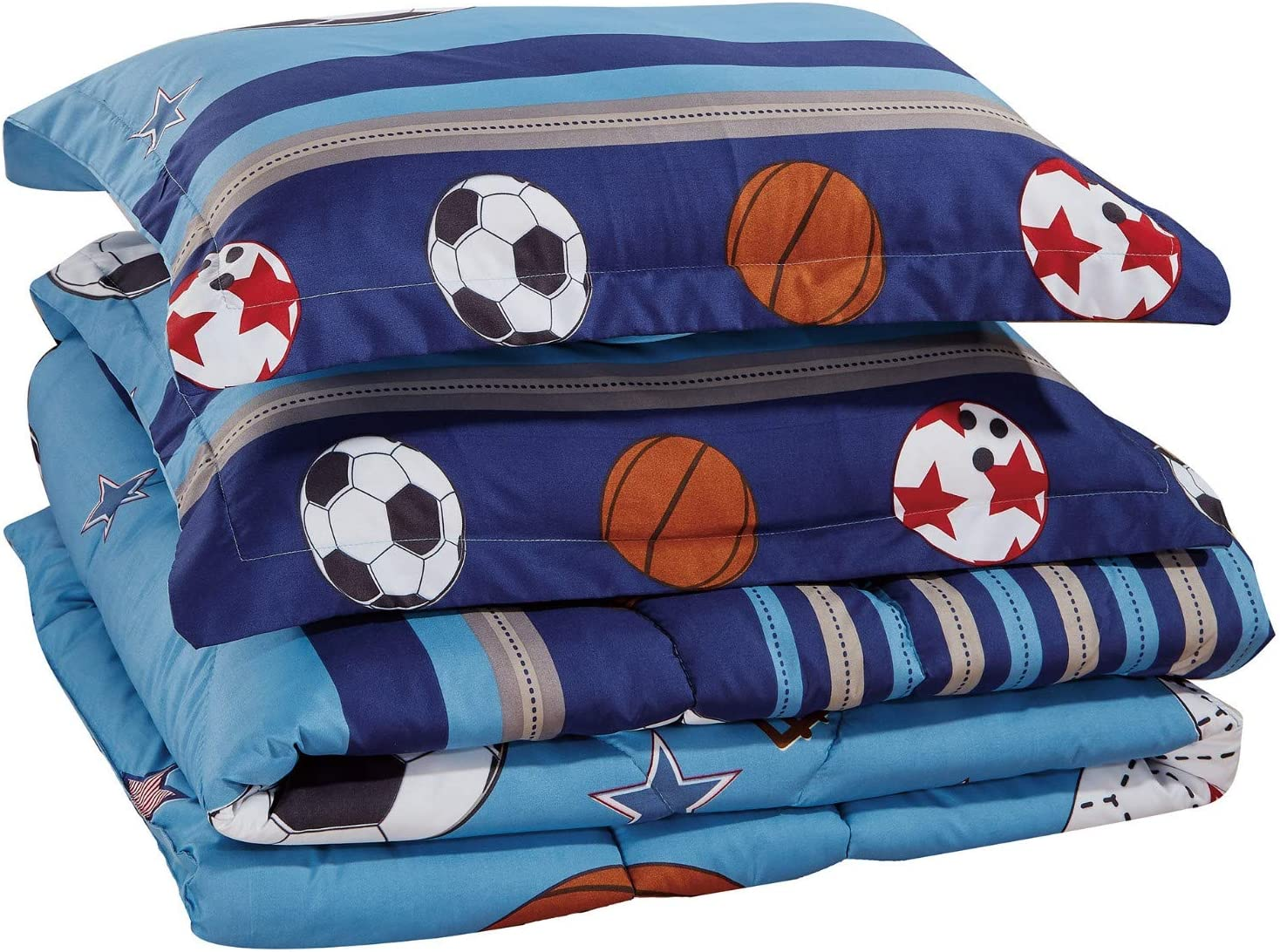Chezmoi Collection 4-Piece Kids/Teens Sports Comforter Set - Soft Microfiber Navy Blue Black Orange Red White Basketball Football Soccer, Twin Size