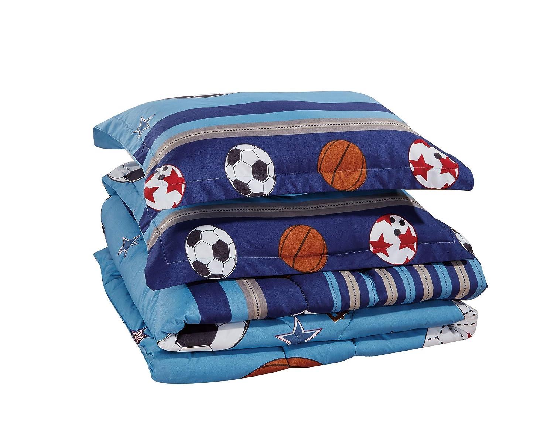 Chezmoi Collection 6-Piece Kids/Teens Sports Comforter Set - Soft Microfiber Navy Blue Black Orange Red White Basketball Football Soccer, Queen Size