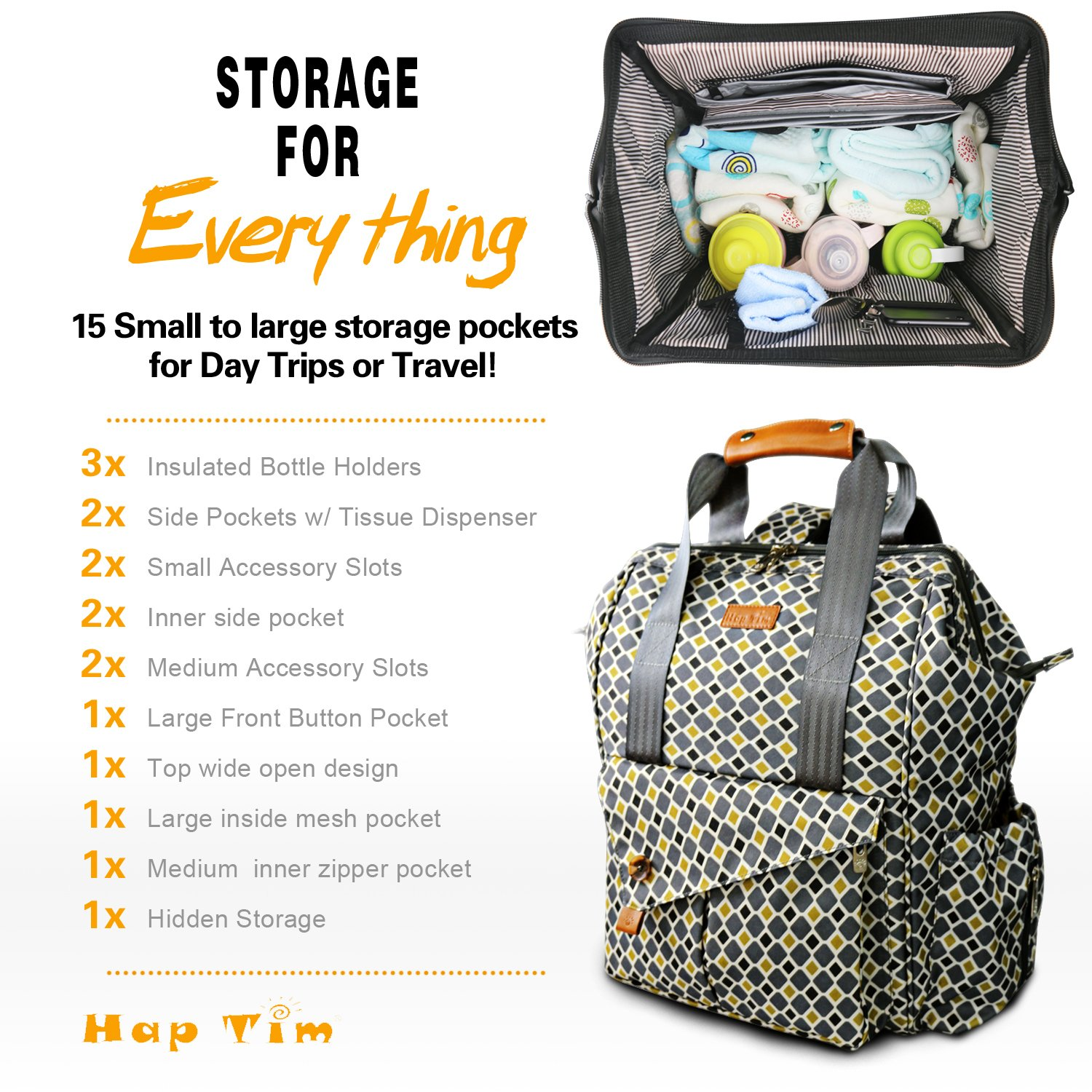 HapTim Multi-Function Baby Diaper Bag Backpack W//Stroller Straps,Large Capacity Nappy Changing Bag for Moms /& Dads Gray-5279