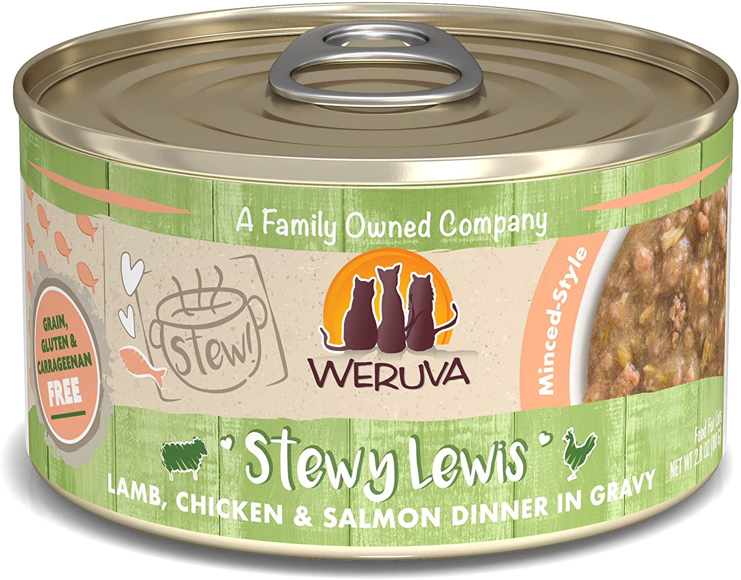 Weruva Classic Cat Stews!, Stewy Lewis with Lamb, Chicken & Salmon in Gravy, 2.8oz Can (Pack of 12)