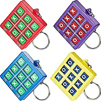 16 Pieces Tic Tac Toe Keychain Durable Plastic Keyholders for Mini Backpack Clip Keyring for Bag and Belt Birthday Party…