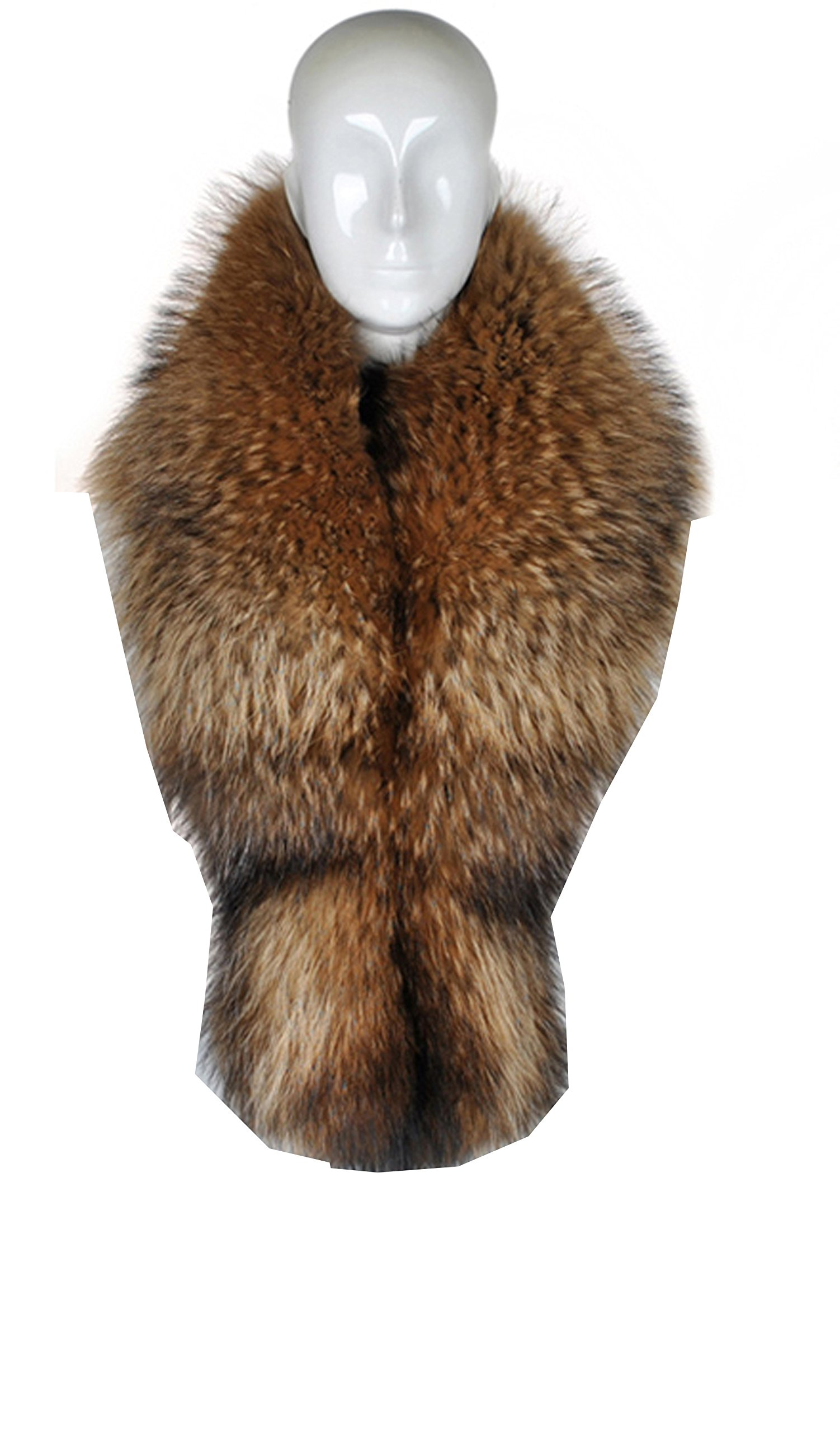 Ysting Large Long Luxury Natural Raccoon Fur Scarf for Winter