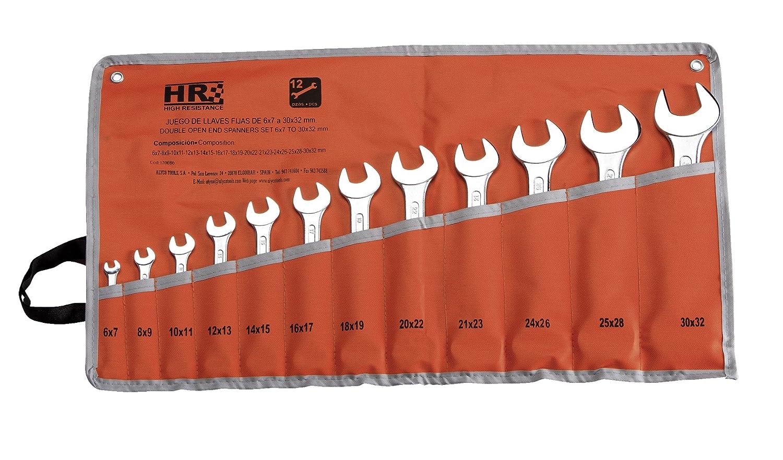 HR 170086 Juego 12 Llaves Fijas 6X7 A, 0 V, Set Piezas Alyco