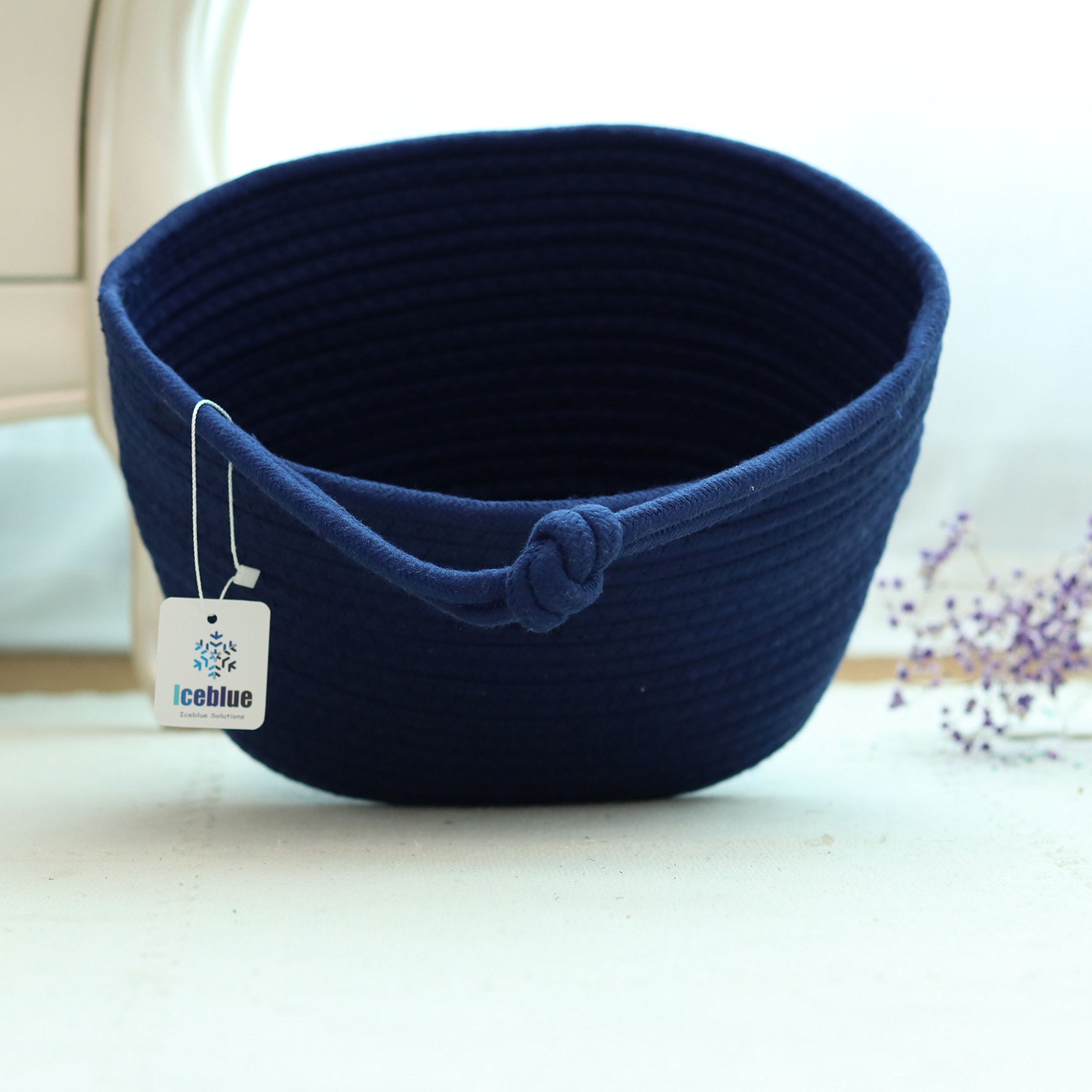 ICEBLUE 9.8''X5.9''X7''Royal Blue Oval Cotton Rope Over Wall Door Closet Window Hanging Storage Basket
