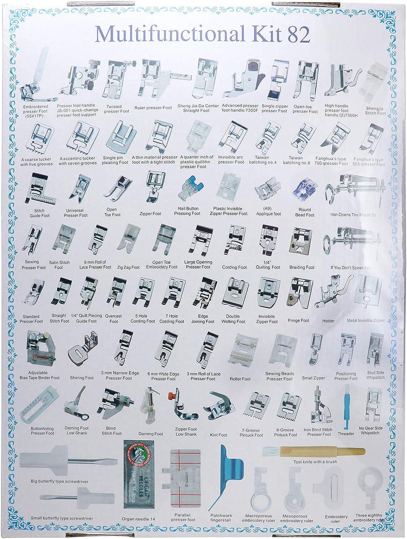 eoocvt Juego de 82 prensatelas para máquina de coser doméstica, para Brother, Babylock, Singer, Janome, Elna, Toyota, New Home, Simplicity, Necchi, Kenmore, y máquinas de coser blancas de caña baja.