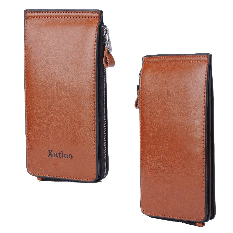 Amazon.com: Katloo premium Leather Zipper Wallet Card Case Purse ...