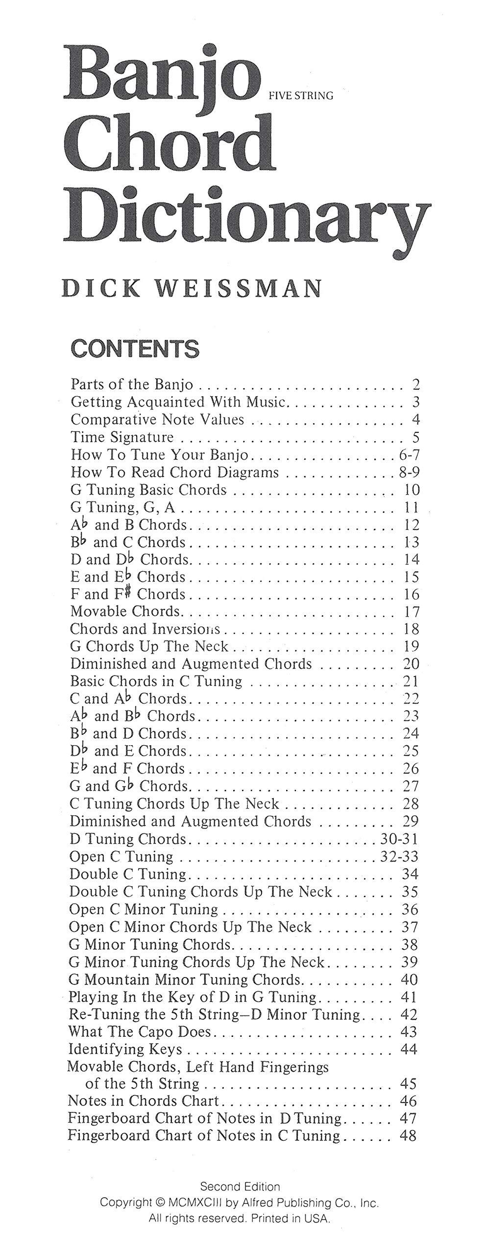 Banjo Chord Dictionary Handy Guide 5-String Banjo Chord Book