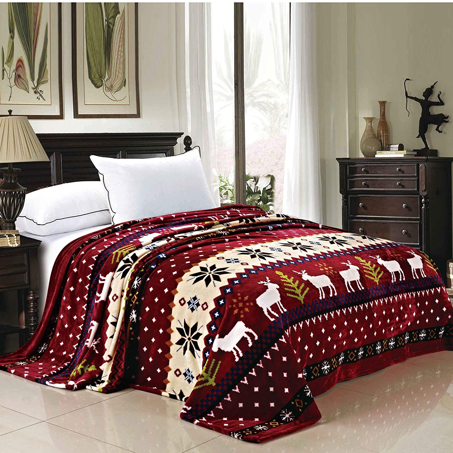 Home Soft Things Christmas Collection Flannel Fleece Blanket, Twin