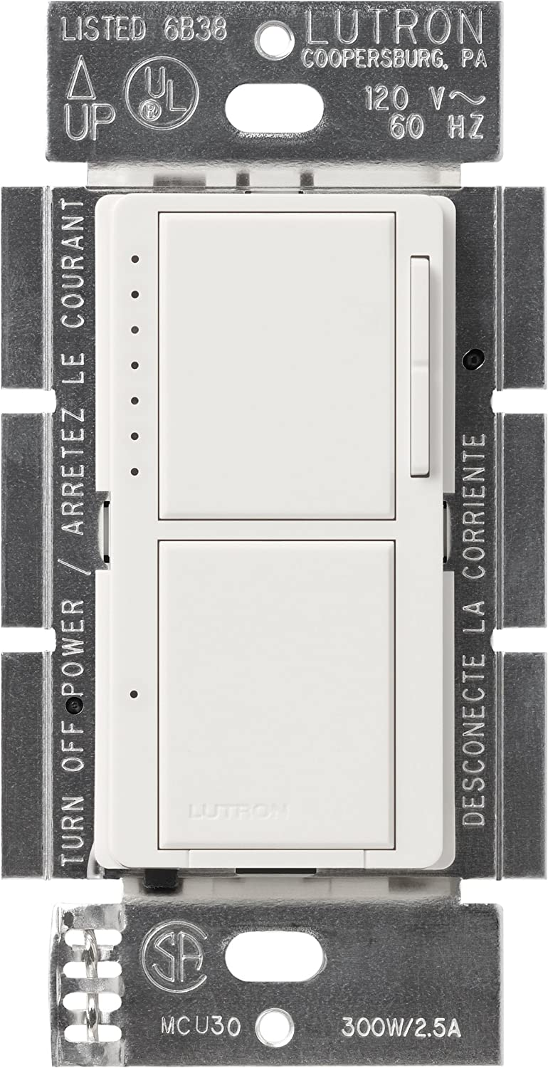 Lutron MA-L3S25-WH Maestro 300 Watt Single-Pole Dual Dimmer and ...