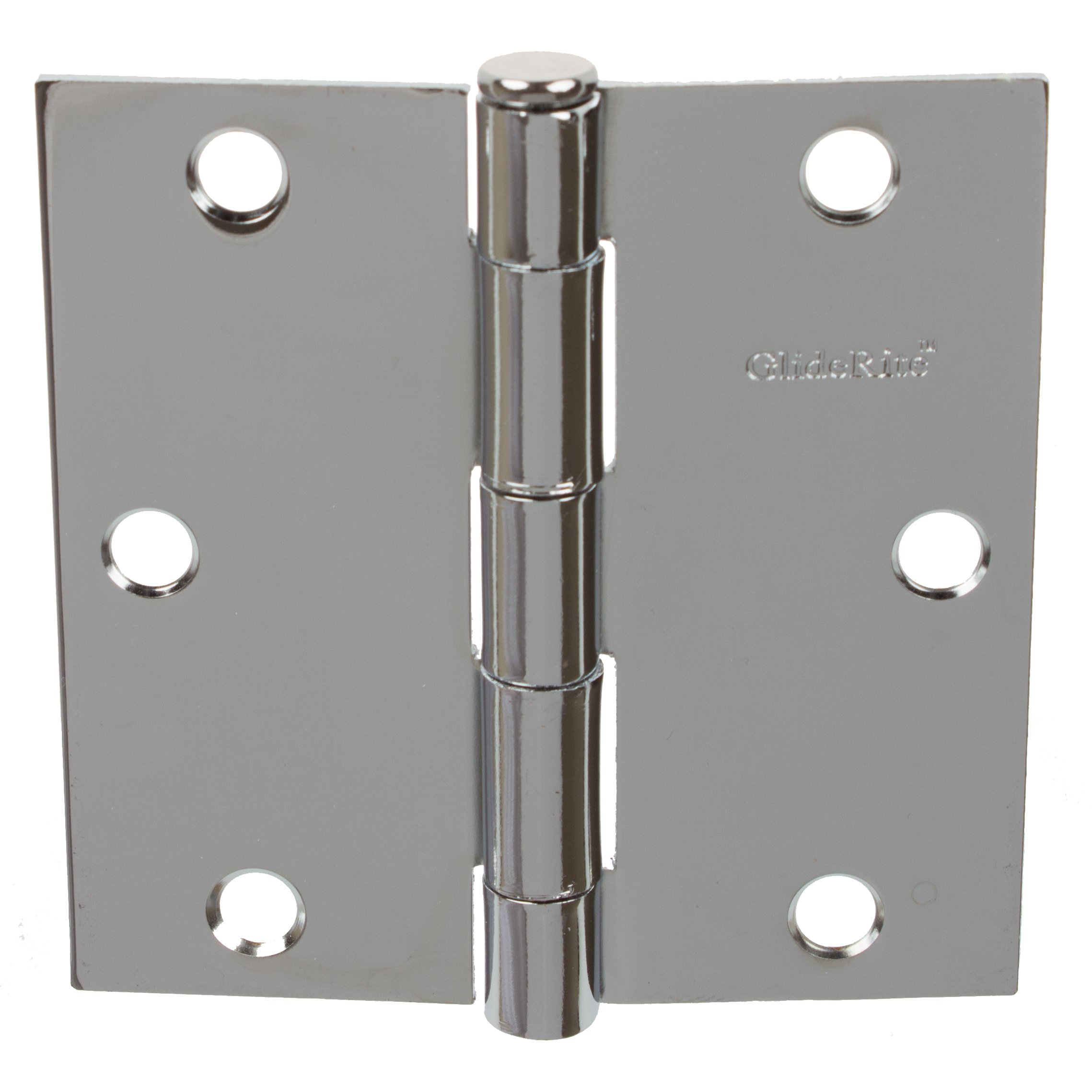 GlideRite Hardware 3500-PC-100 3.5 inch steel Door Hinges Square Corners Polished Chrome Finish 100 Pack