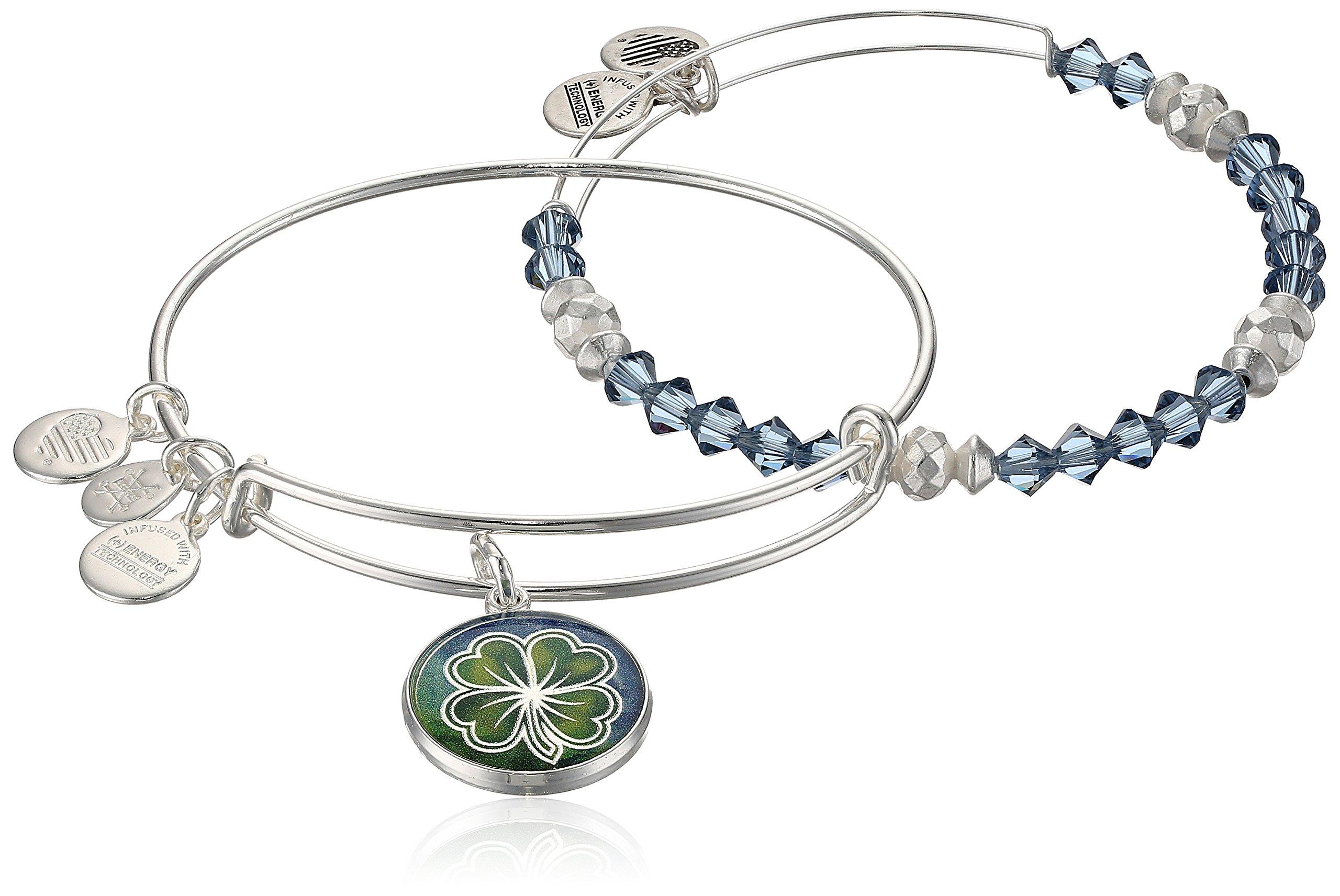 Alex and Ani Women's Art Infusion Set Four Leaf Clover Bangle Bracelet, Shiny Silver, Expandable