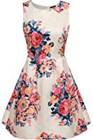ACEVOG Women Summer Casual Sleeveless Floral Mini Party Cocktail Dress