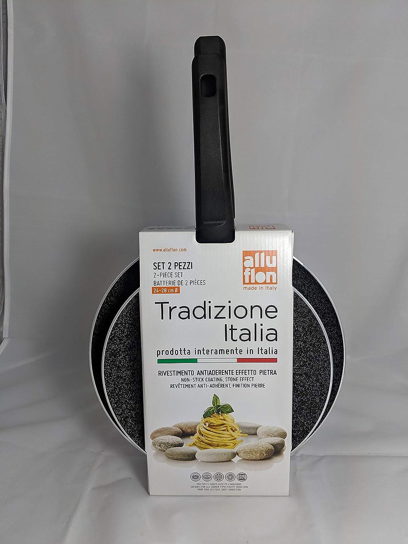 alluflon tradicionalmente Italia bis sartenes de A 24 - 28 cm, Aluminio: Amazon.es: Hogar