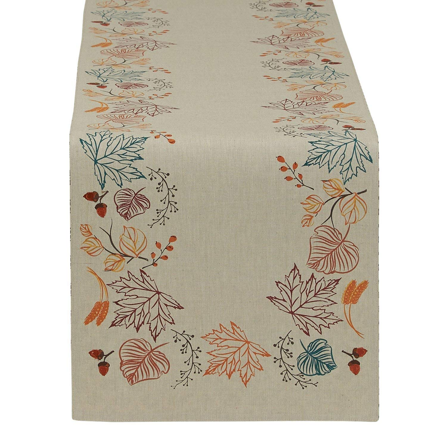Design Imports Autumn Leaves Embellished Table Runner (14'' x 72'') (Autumn Leaves)