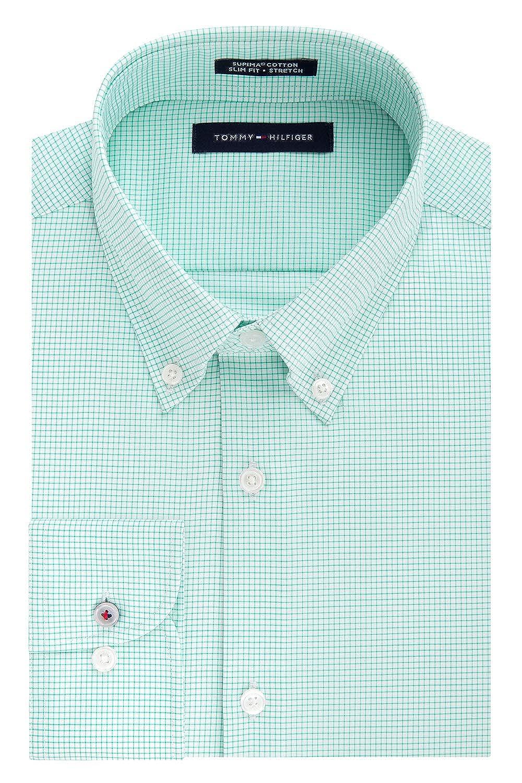 88c89e16 Tommy Hilfiger Men's Dress Shirt Stretch Slim Fit Checks at Amazon Men's  Clothing store: