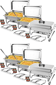 TigerChef Chafing Dish Buffet Set - Chaffing Dishes Stainless Steel - 6 Sets of Chafers and Buffet Warmer Sets: 12 Chafing Gels, 6 Slotted Spoons and Foldable Frame - Food Warmers for Parties Buffets