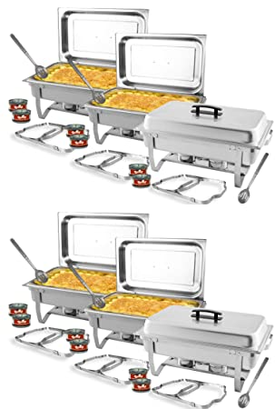 TigerChef 8 Quart Full Size Stainless Steel Chafer with Folding Frame and Cool-Touch Handles. Includes 12 Free Chafing Gels Burns 2.5 Hours and 6 Slotted Spoons 6, 8 Quart Chafer